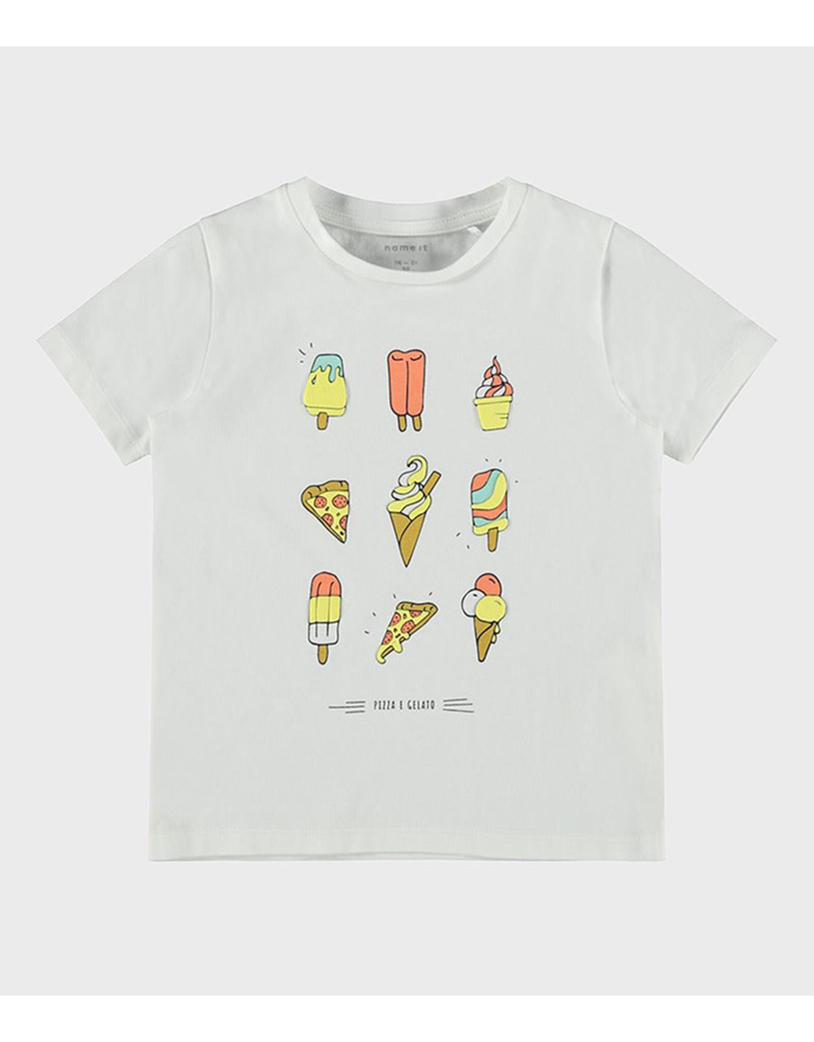 Name It Witte unisex t-shirt met pizza's en ijsjes