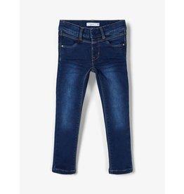 Name It Donkerblauwe gevoerde jeans voor kleine meisjes