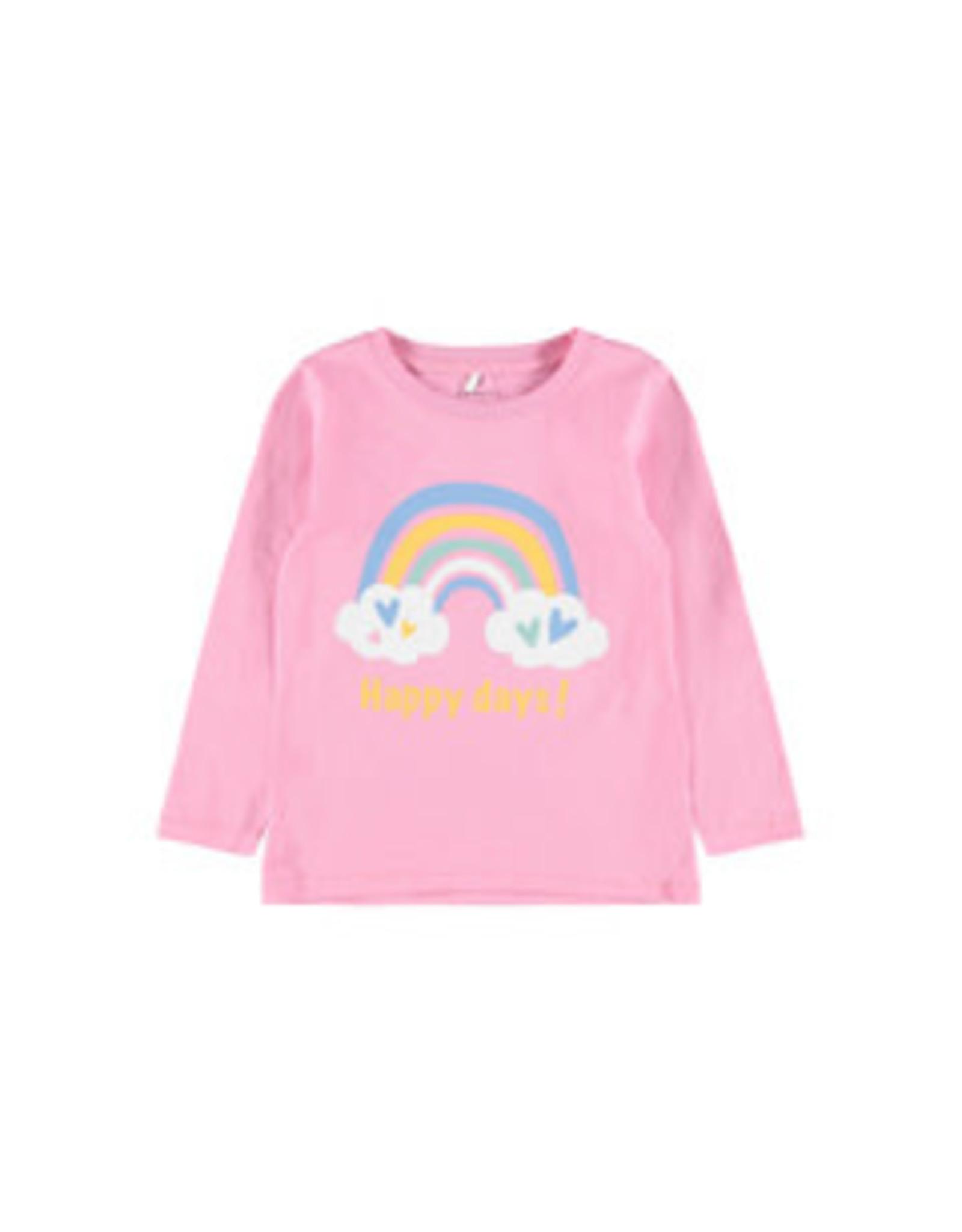 Name It Roze t-shirt met regenboog
