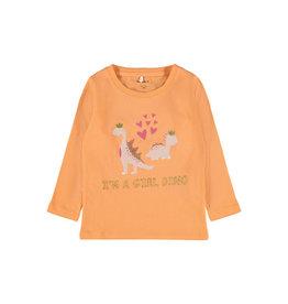 Name It Oranje t-shirt met meisjes dino's