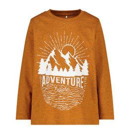 Name It Gemeleerde bruine t-shirt met grafische print