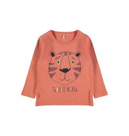 Name It Abrikoos kleurige unisex t-shirt met poes
