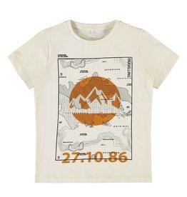 Name It Beige t-shirt met landkaart