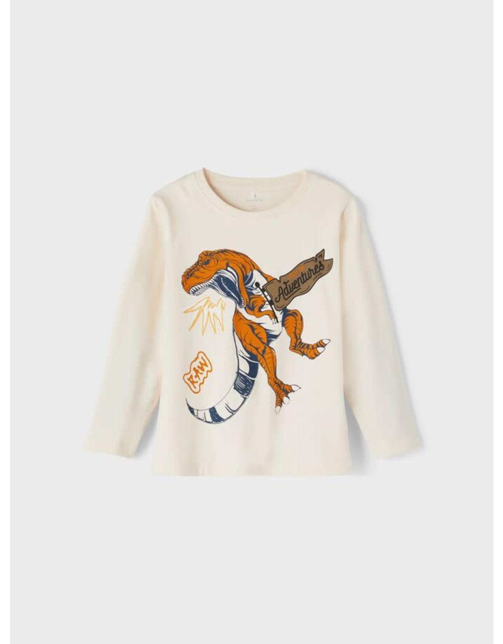 Name It Beige grijsachtige t-shirt met dinosaurus