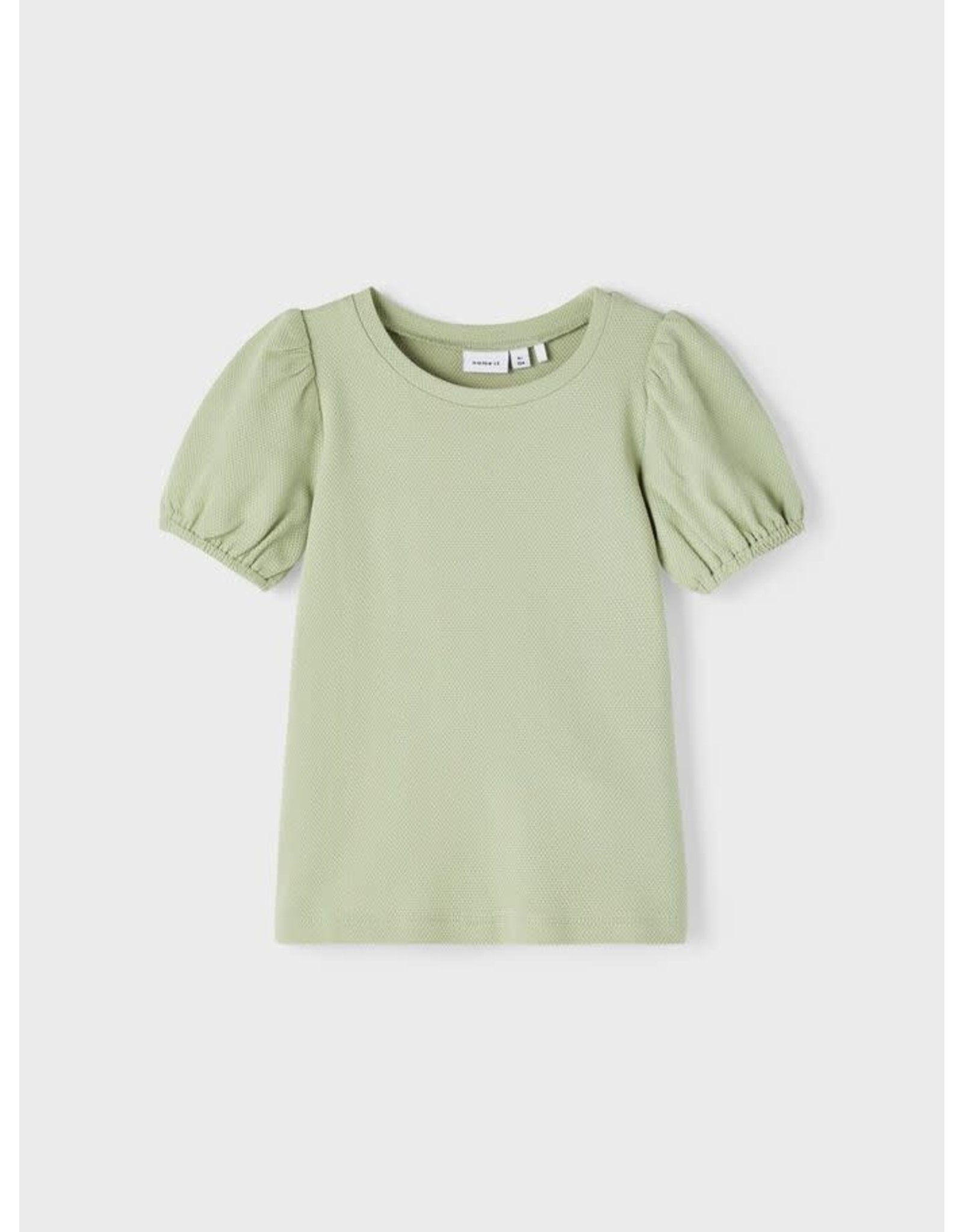 Name It Zacht groene t-shirt met pofmouwen