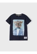 Name It Donkerblauwe t-shirt met luipaard
