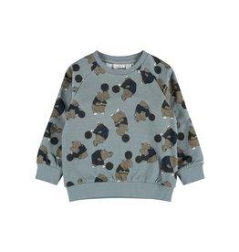Name It Coole sweater trui teal blauw met nijlpaarden