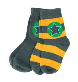 Villervalla 2-pack sokken (1 effen grijs en 1 gestreept geel/grijs)