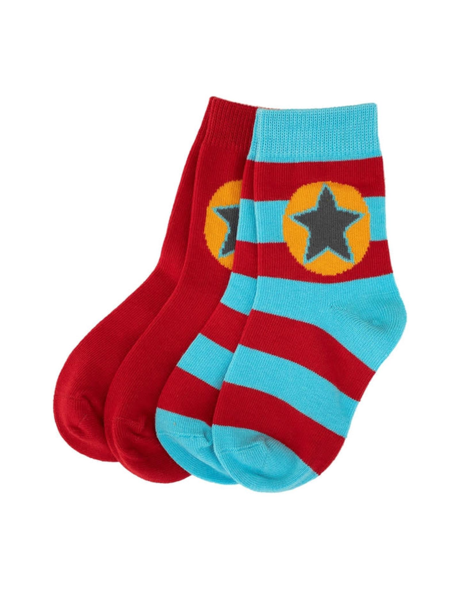 Villervalla 2-pack sokken (1 effen rood en 1 gestreept rood/blauw)