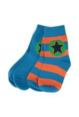 Villervalla 2-pack sokken (1 effen blauw en 1 gestreept oranje/blauw)