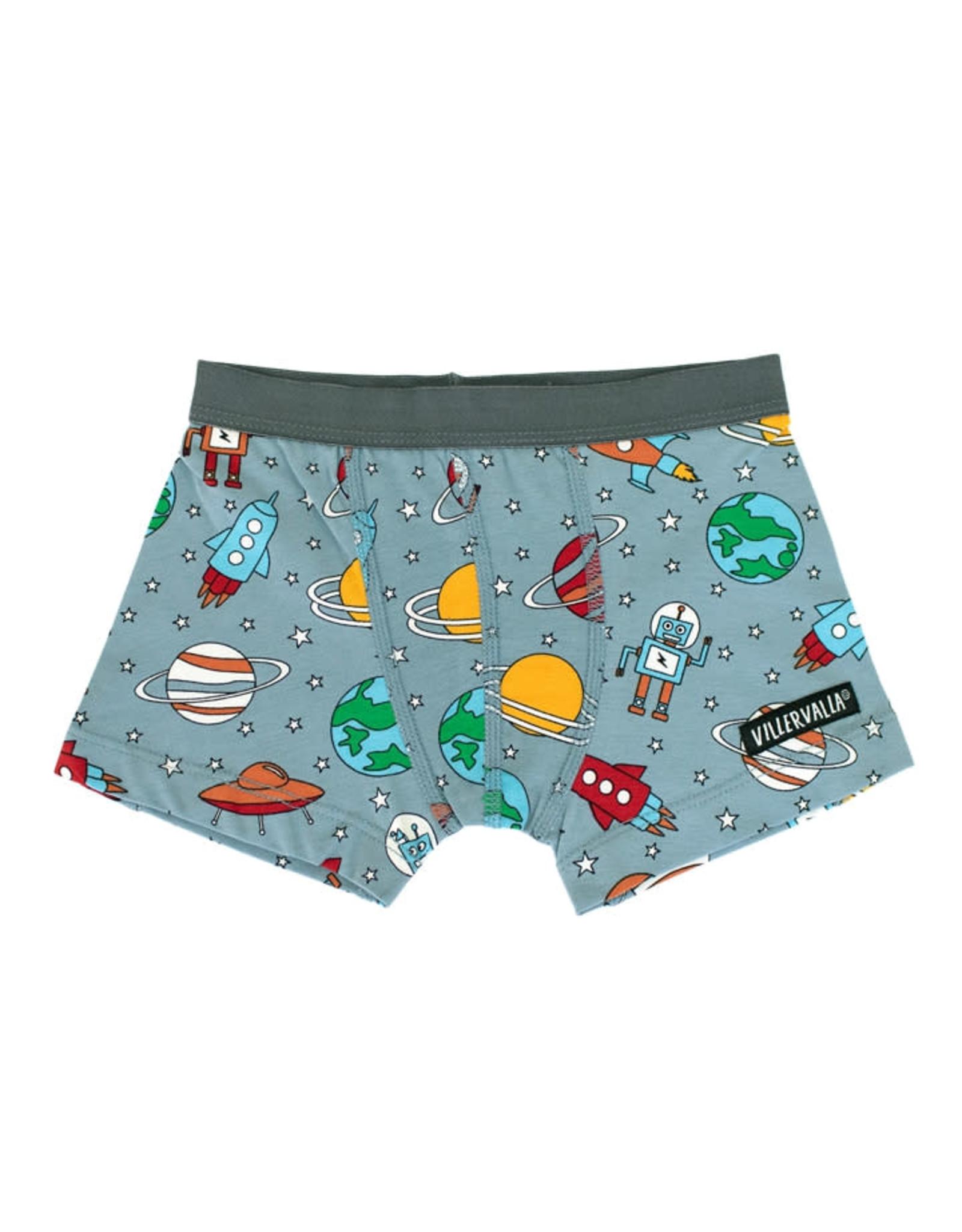Villervalla Grijze boxer short met printjes uit de ruimte