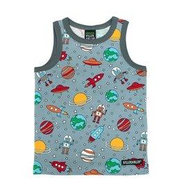 Villervalla Grijze mouwloze t-shirt met ruimte prints