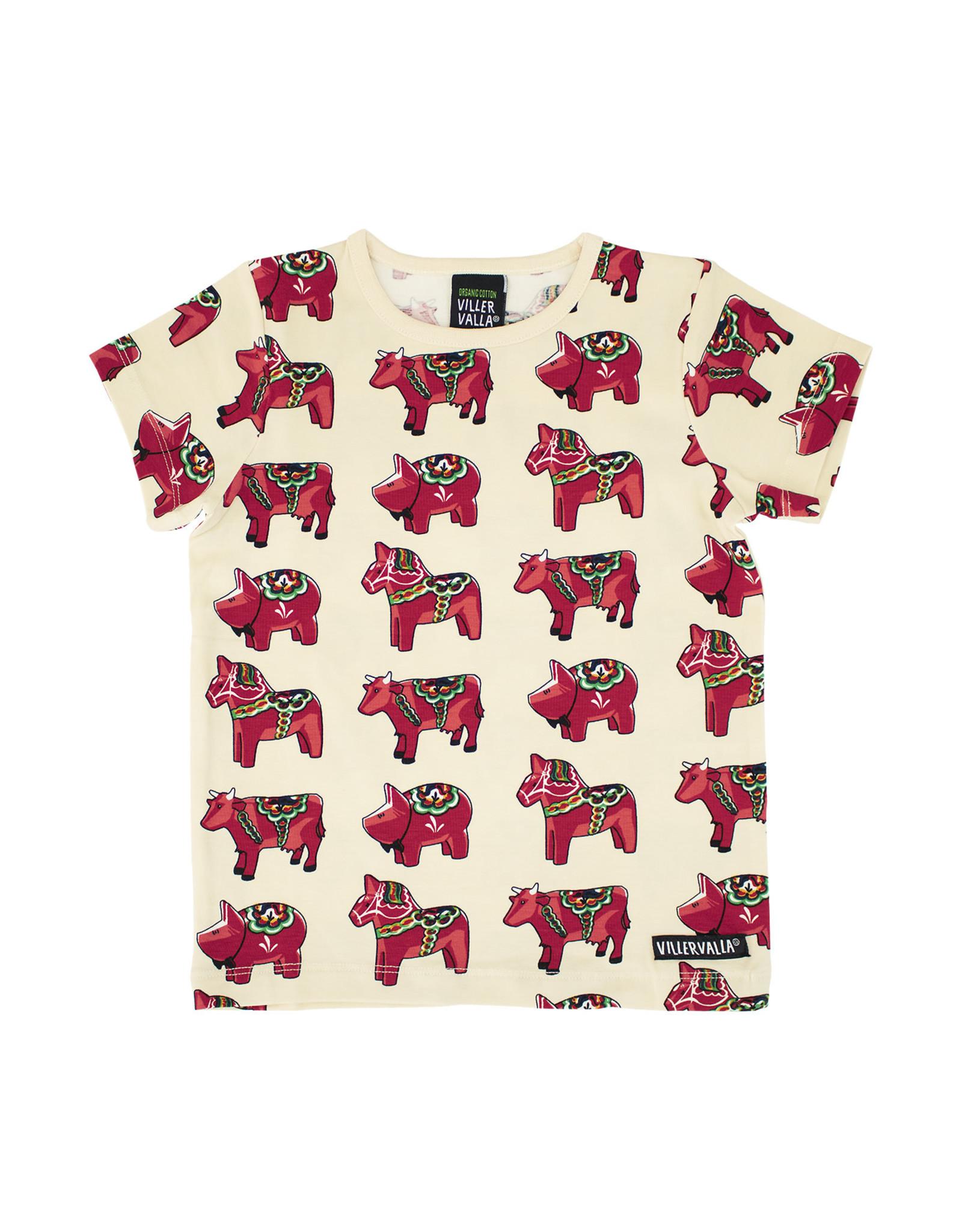 Villervalla Beige t-shirt met Dalarna paardjes
