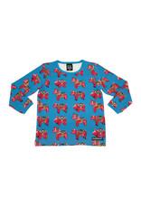 Villervalla Blauwe t-shirt met Dala paardjes