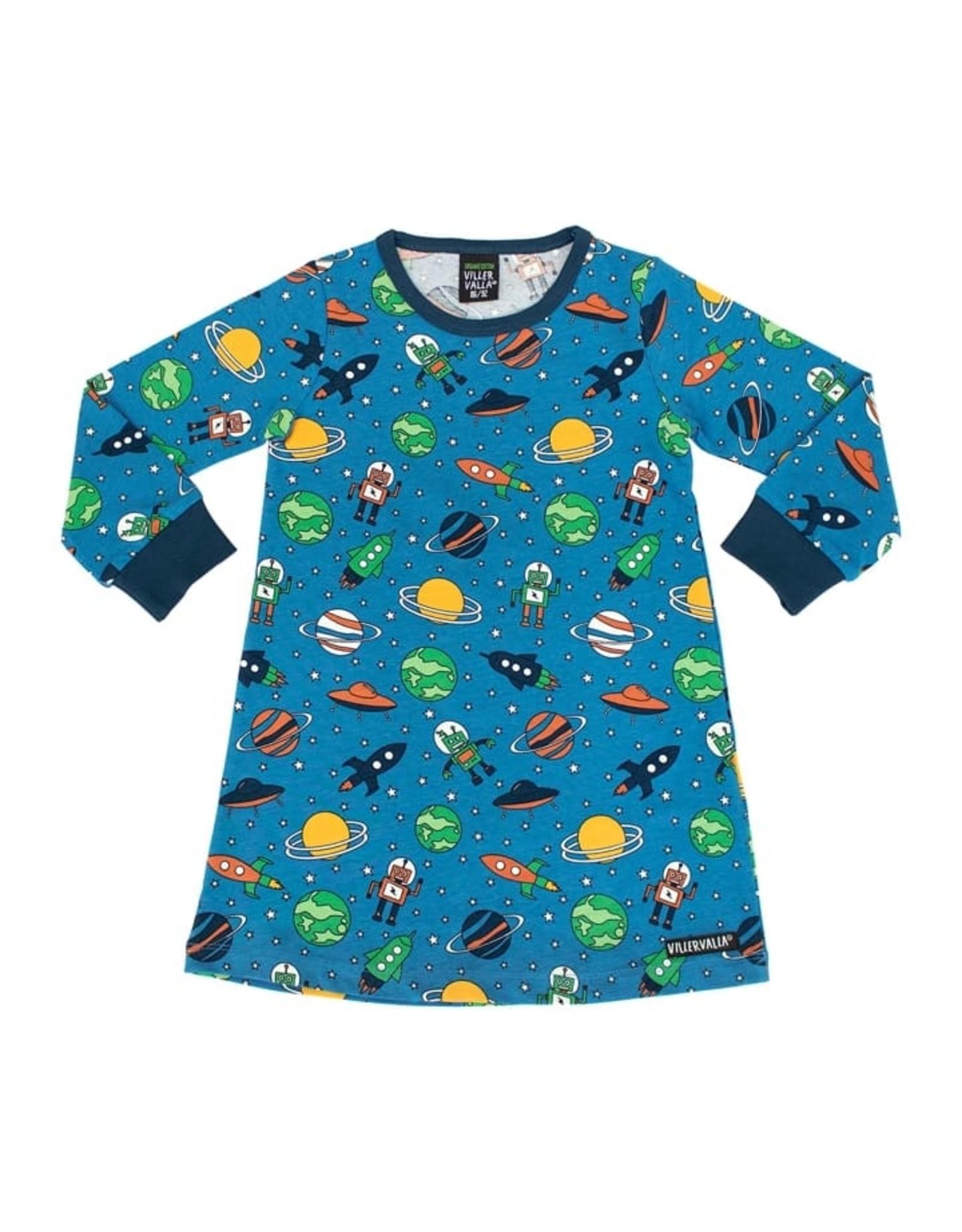 Villervalla Stoer nachtkleedje met raketten en planeten