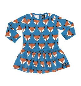 Villervalla Blauwe cookie dress met vossen print