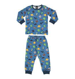 Villervalla Blauwe winter pyjama met ruimte print