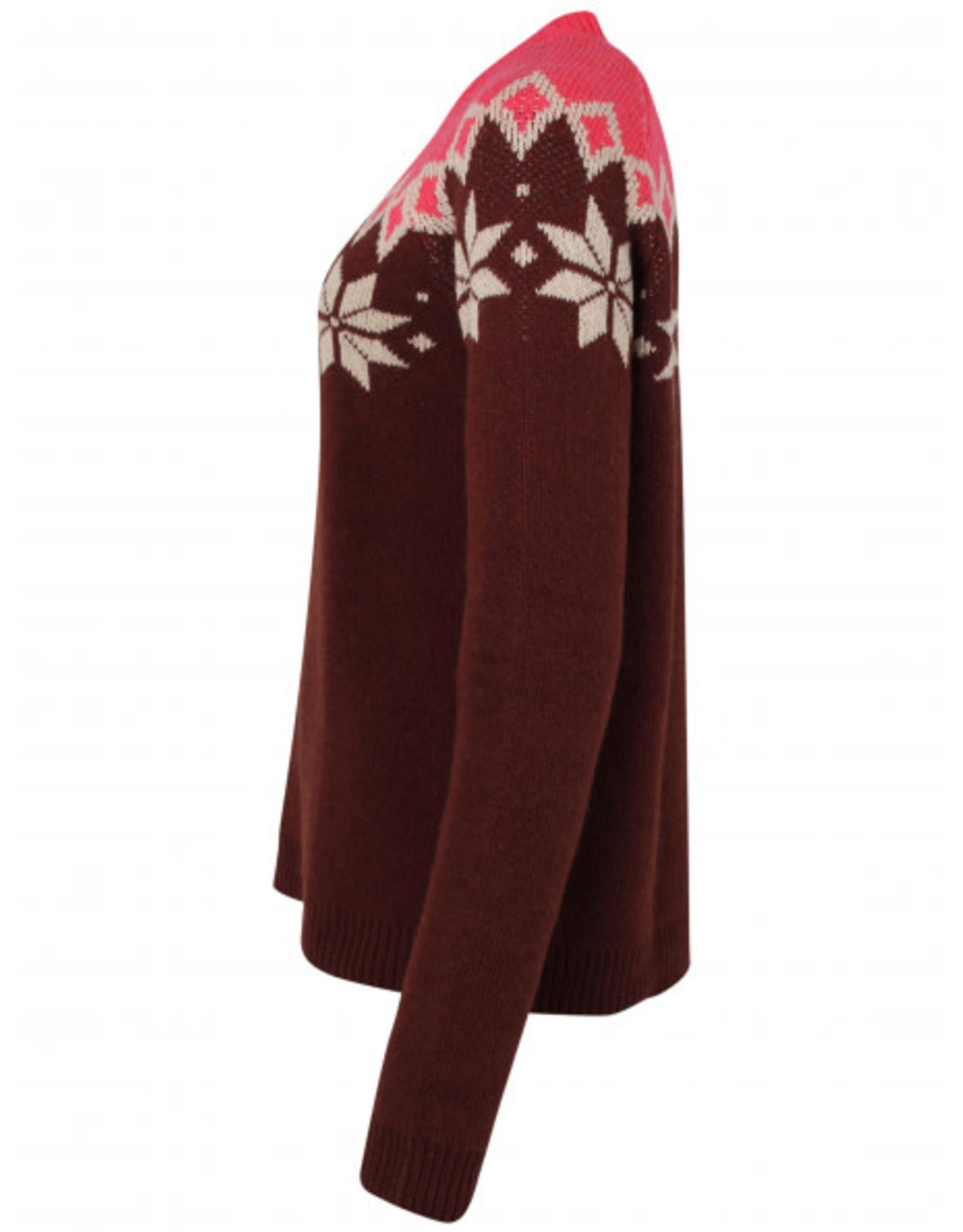 Danefae VOLWASSENEN Bordeaux/roze warme wintertrui