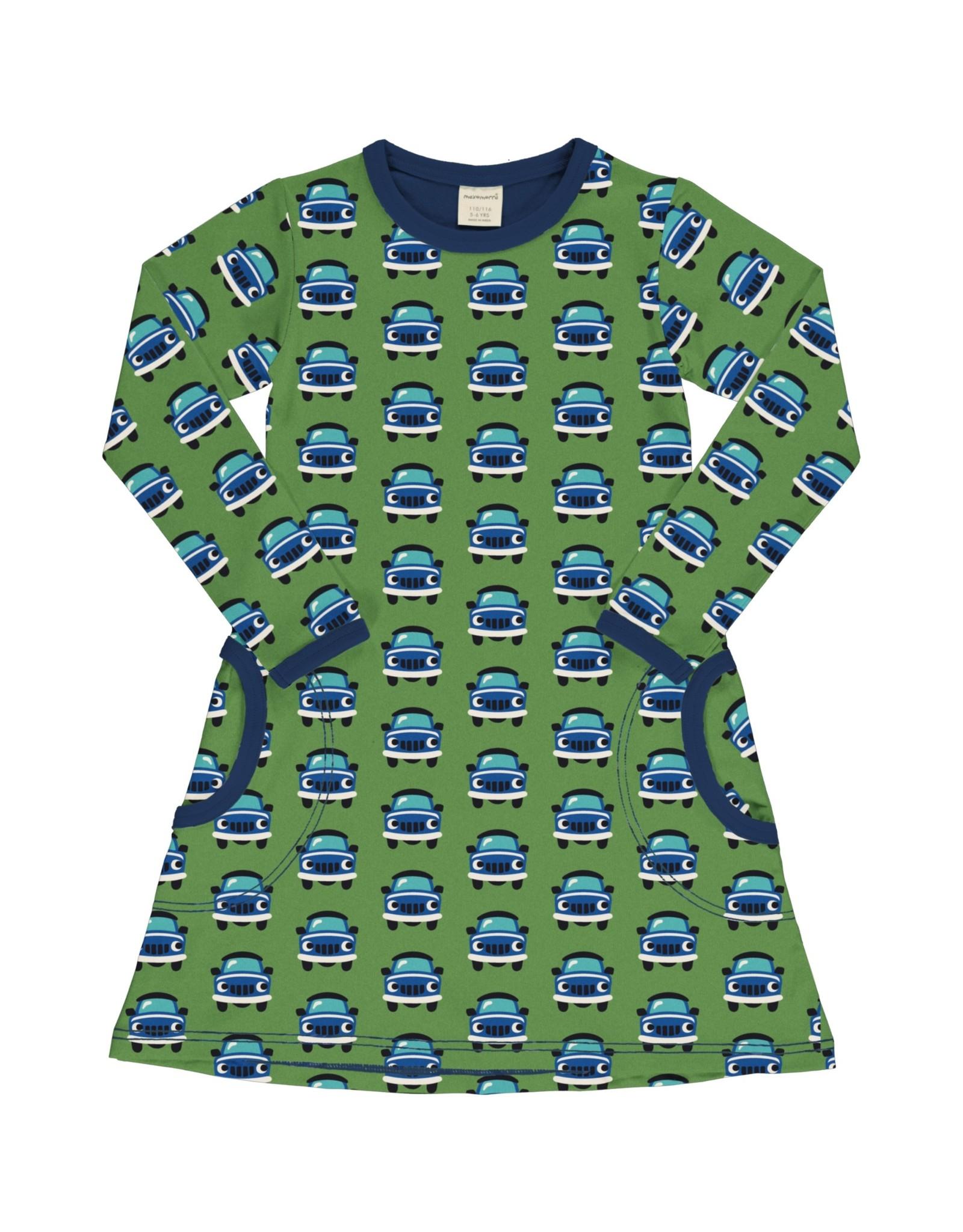 Maxomorra A-lijn kleedje met lange mouwen en auto print