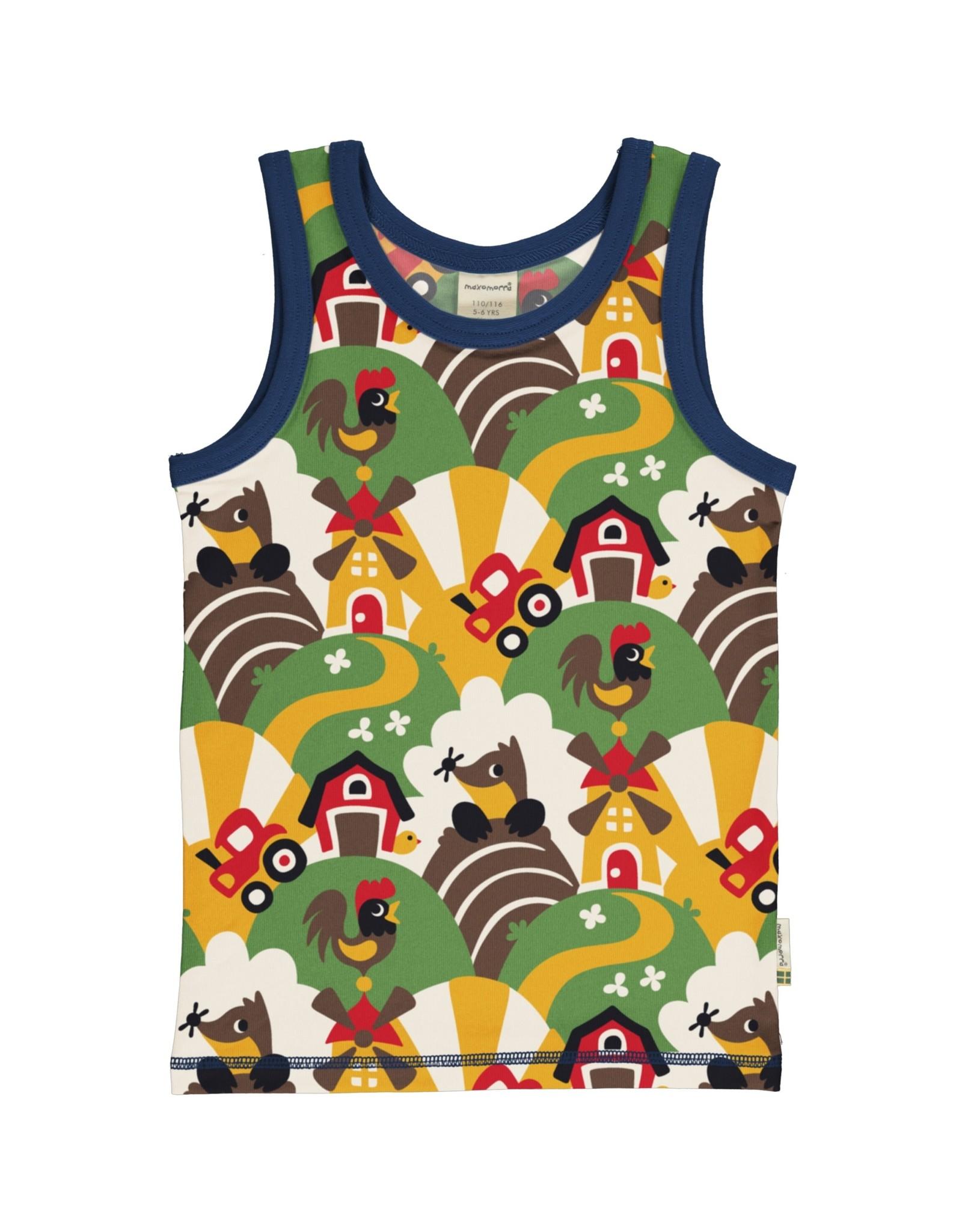 Maxomorra Mouwloze t-shirt met all over boerderij print