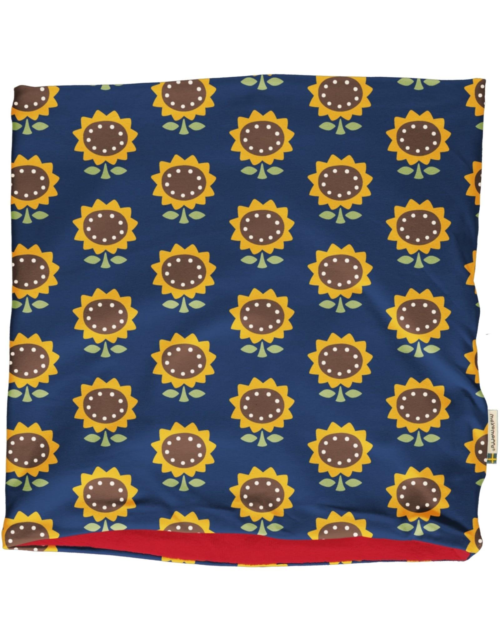 Maxomorra Ronde sjaal (binnenkant velours) met zonnebloemen