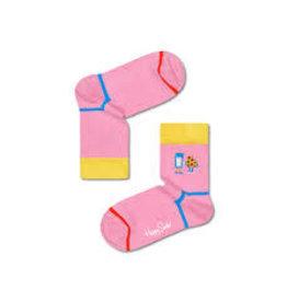 "Happy Socks Leuke roze ""fika"" sokken met melk en een koekje"