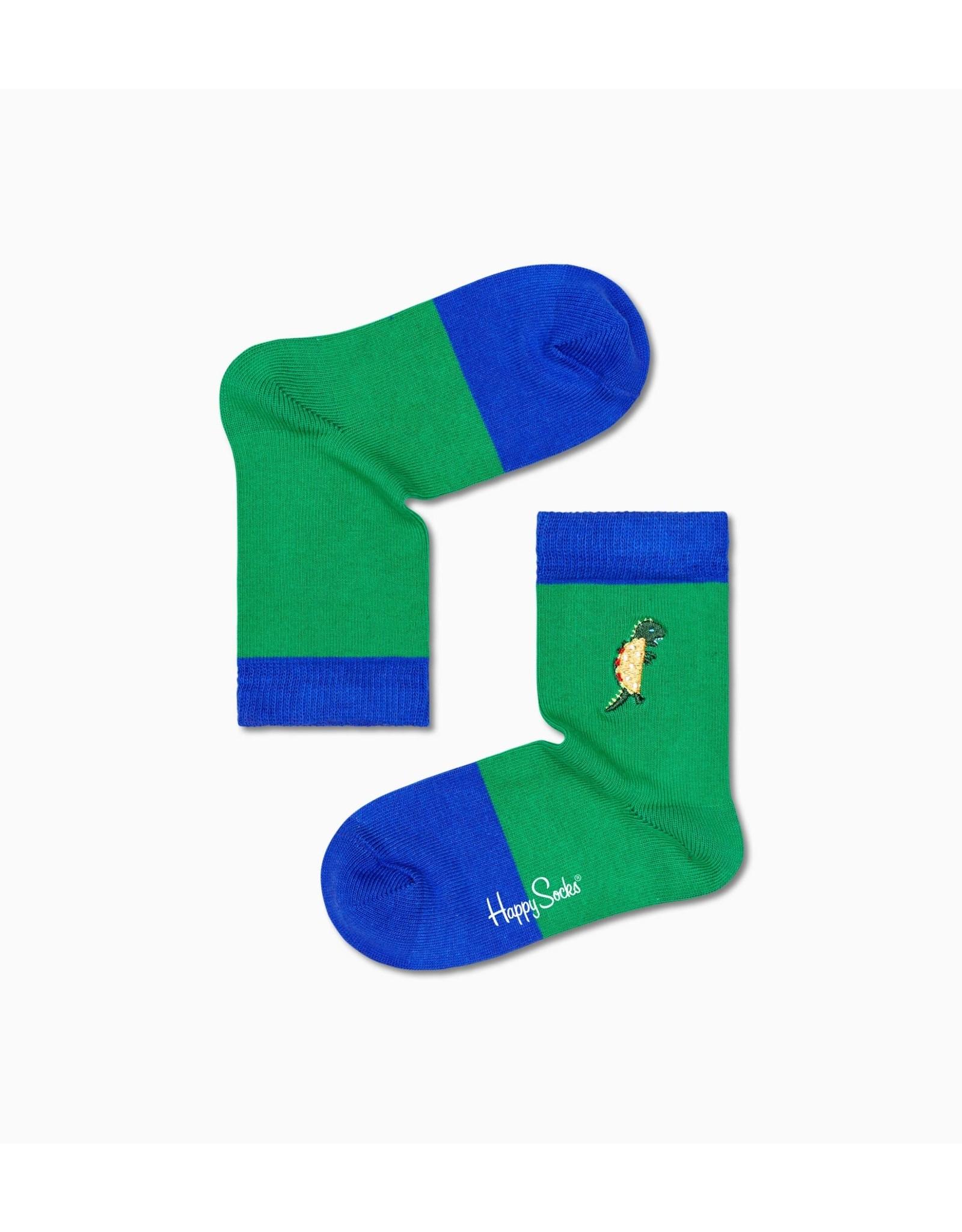 Happy Socks Blauw groene sokken met taco dinosaurus