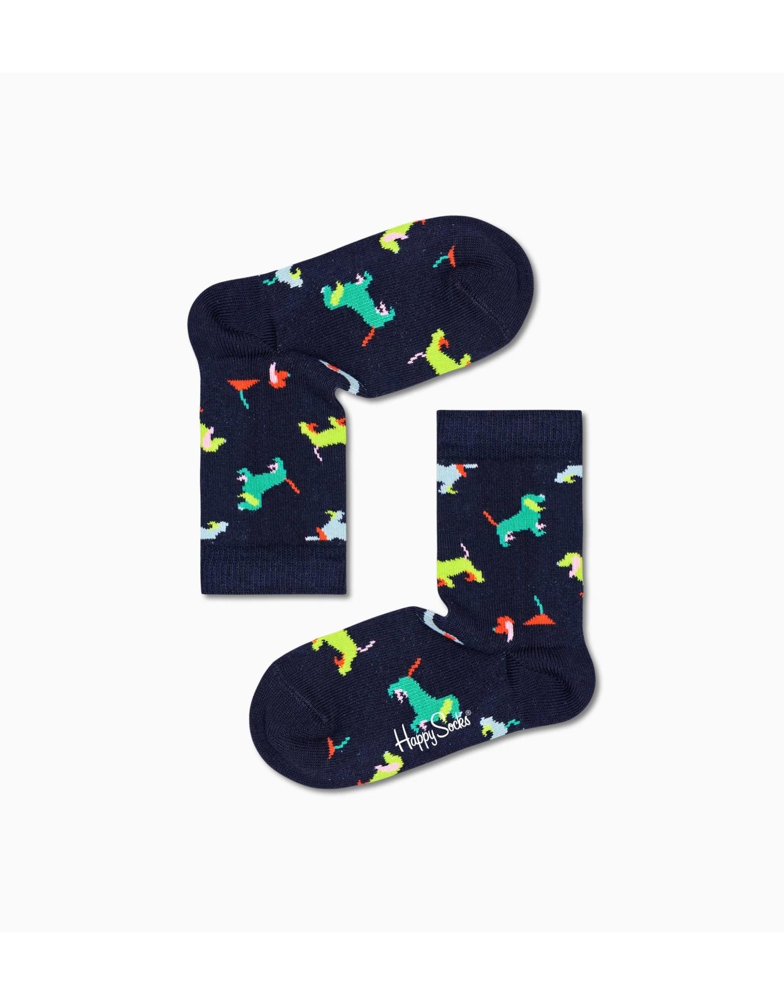Happy Socks Zwarte kindersokken met puppy hondjes
