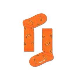 Happy Socks Oranje kniesokken voor kinderen met hamburgers