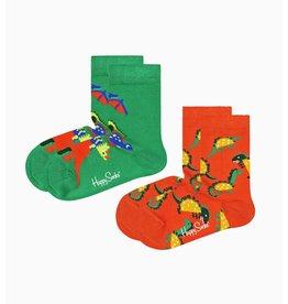 Happy Socks 2-pack kindersokken met veel dino's