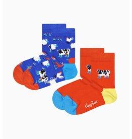Happy Socks 2-pack sokken voor kinderen met koeien