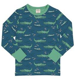 Meyadey T-shirt met lange mouwen en veel krokodillen