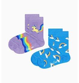 Happy Socks 2-pack kindersokken met regenbogen en unicorns