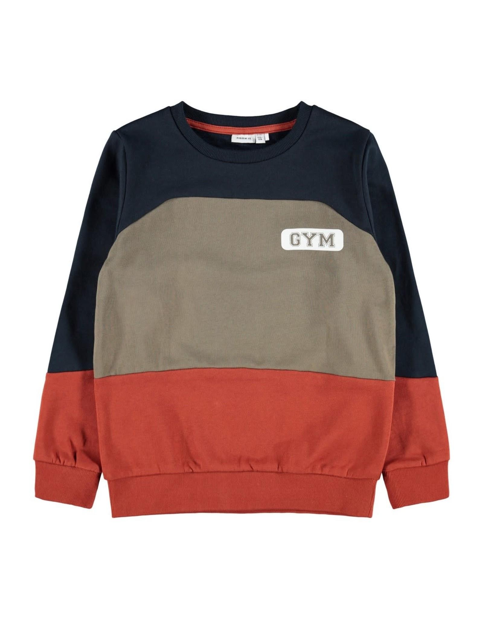 Name It Trui met colour block rood-bruin-blauw