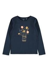 Name It Blauwe t-shirt met bloemen