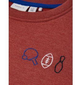Name It Rode sweater trui met sport logootjes