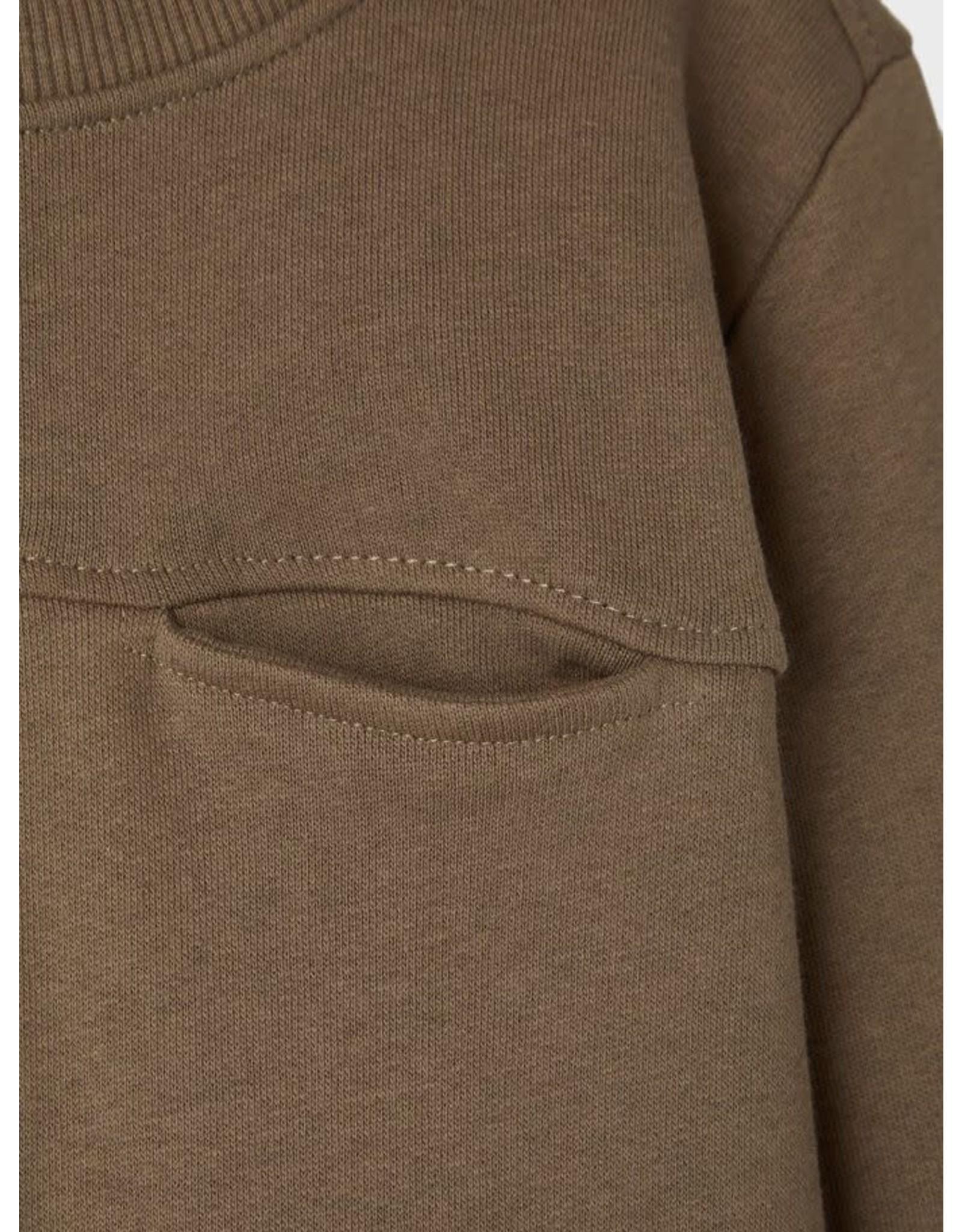 Name It Groengrijze basis trui met borstzakje