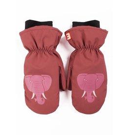 Dyr Roze warme winterhandschoenen met olifanten