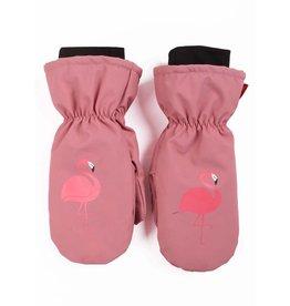 Dyr Warme winter wanten roze met flamingo