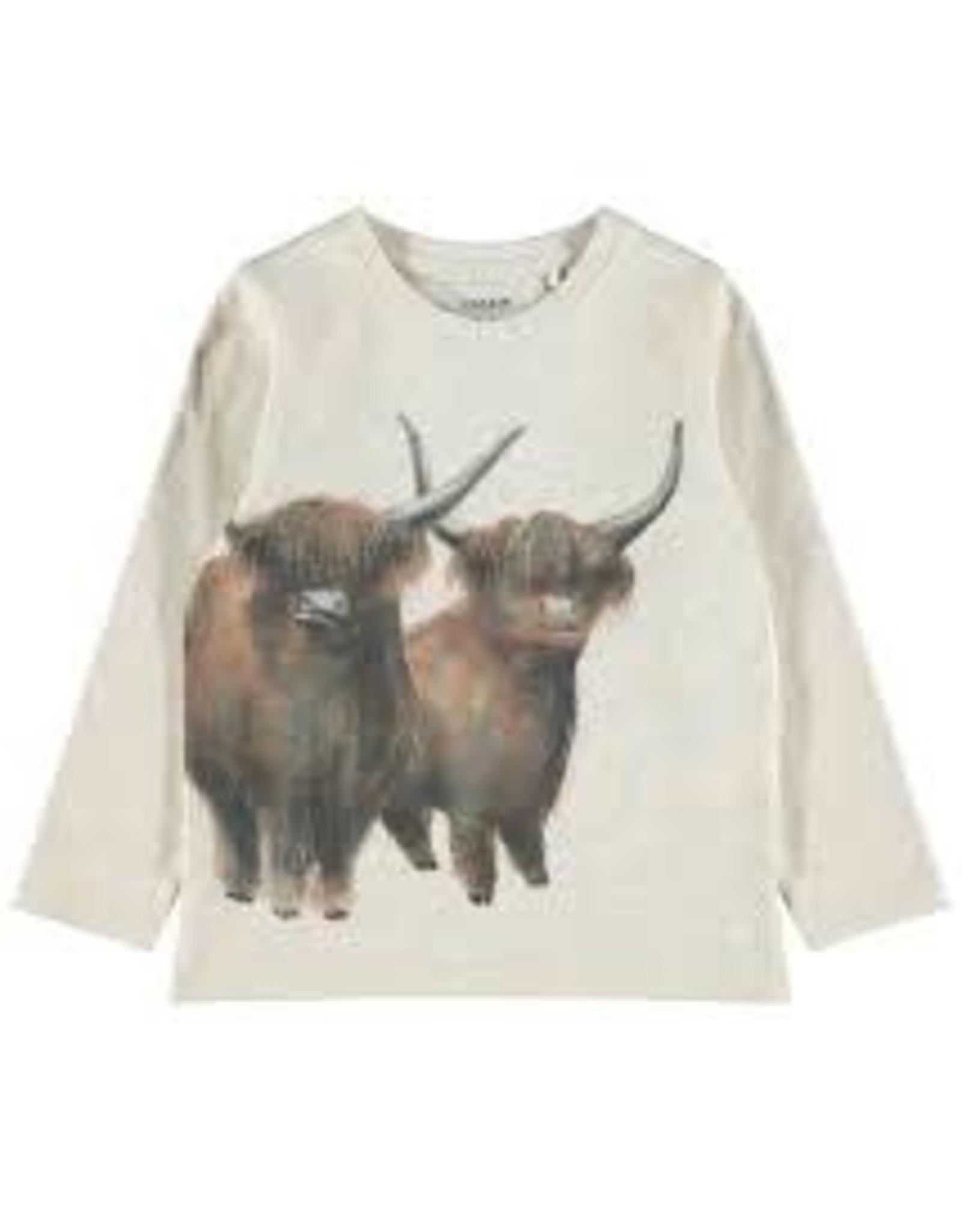 Name It Witte t-shirt met Schotse Highland koeien