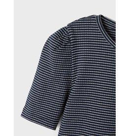 Name It Donkerblauwe gestreepte t-shirt met pofmouwen