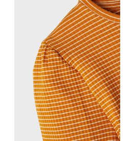 Name It Curry kleurige t-shirt met pofmouwen