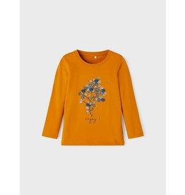 Name It Curry kleurige t-shirt met bloemen