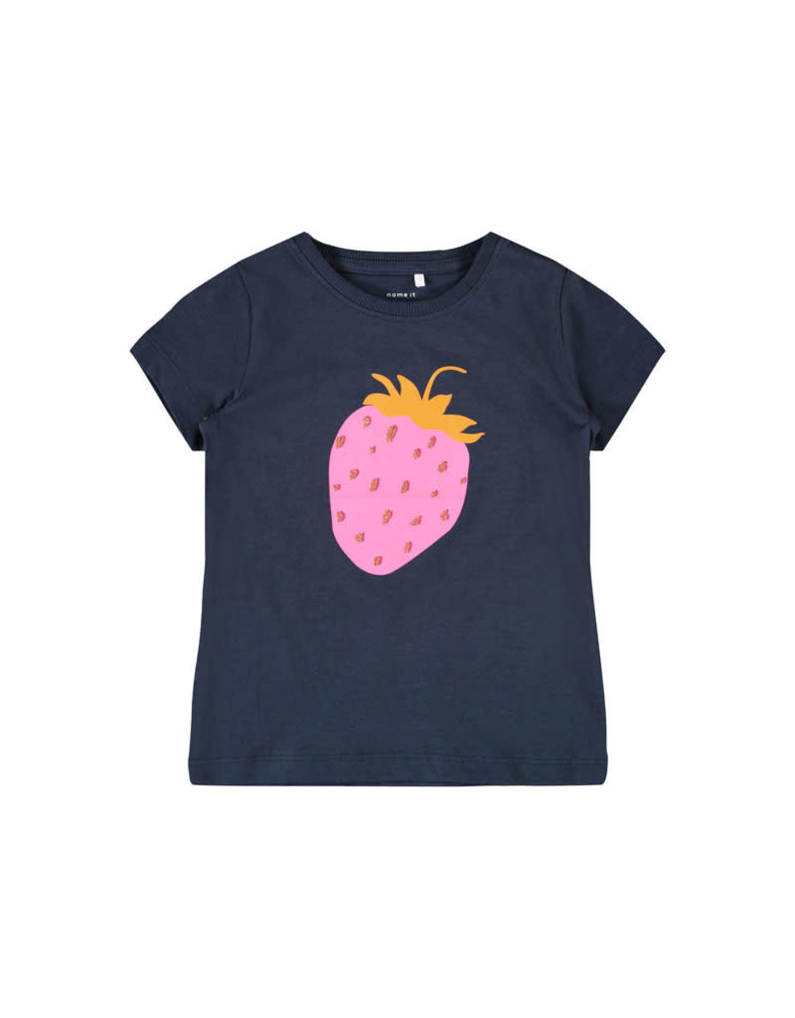 Name It Blauwe t-shirt uit bio katoen met aardbei