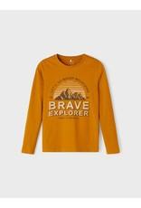 Name It Curry kleurige t-shirt met bedrukking