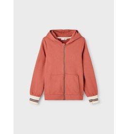 Name It Zacht rode meisjes hoodie trui met rits
