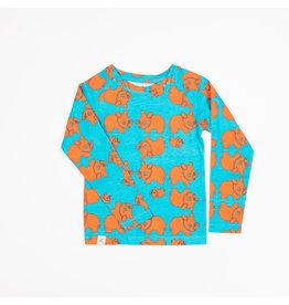ALBA of Denmark Blauwe t-shirt met oranje neushoorns
