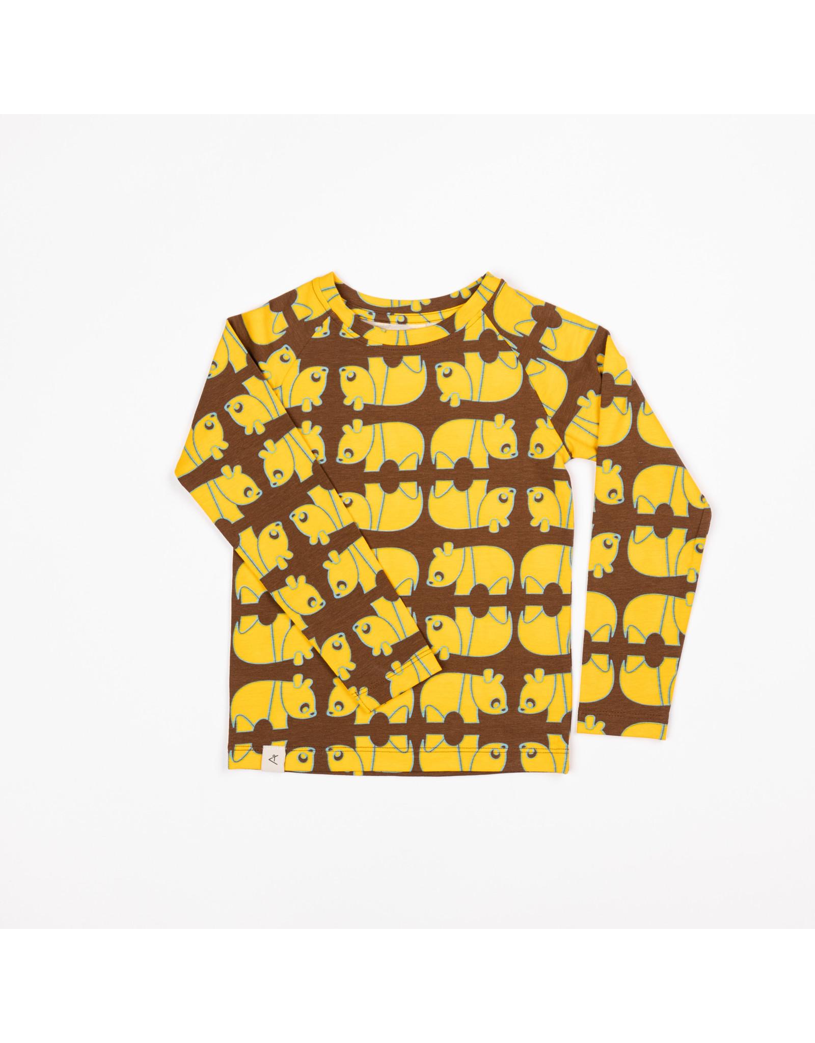 ALBA of Denmark Bruine t-shirt met gele panda's