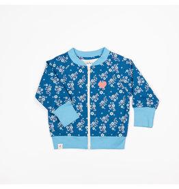 ALBA of Denmark Blauwe trui met rits en kleine witte bloemetjes