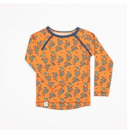 ALBA of Denmark Oranje t-shirt met blauwe bloemetjes